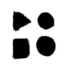 set four black ink geometric shapes vector image