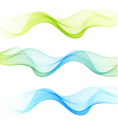 set of abstract waves backgroundblue green wave vector image