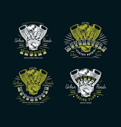 Set of biker club emblem for t-shirt vector