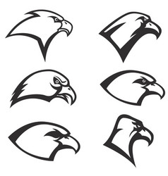 Set of eagle heads icon isolated on white vector