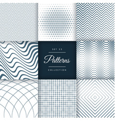 set of eight different line pattern background vector image