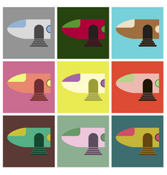 set of icons in flat design airplane nose vector image