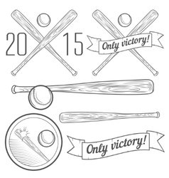 Set of logotypes with baseball bat vector