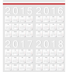 Set of Polish 2015 2016 2017 2018 calendars vector