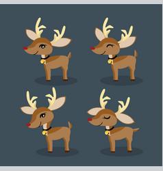 set of reindeer for christmas holiday season vector image