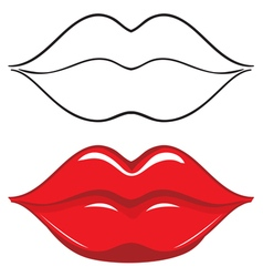 Sexy red female lips vector