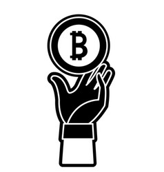 Silhouette bitcoin electronic currency with hand vector