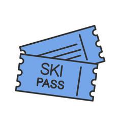 ski pass color icon vector image