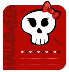 Skull girl greeting card vector image