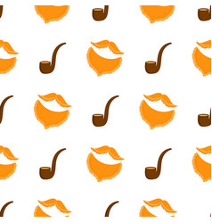 smoking pipe male beards and mustache seamless vector image