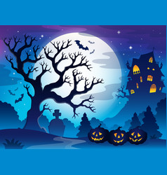 Spooky tree theme image 3 vector
