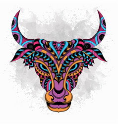 stylized cow zentangle vector image
