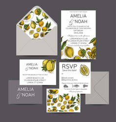 Template for wedding invitation card vector