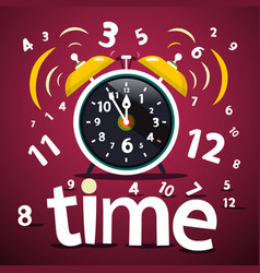 Time design with numbers and ringing alarm clock vector