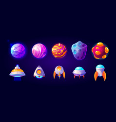 ufo spaceships and rockets with planets set vector image