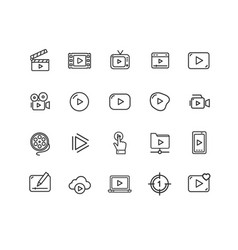 video play sign thin line icon set vector image