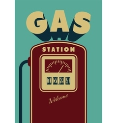 Vintage Gas Station poster design vector