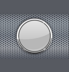 white glass button with chrome frame on metal vector image