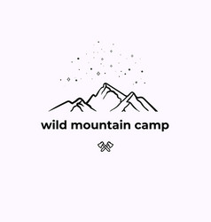 wild mountain camping linear badge vector image