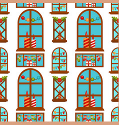 windows with christmas candles festive garlands vector image