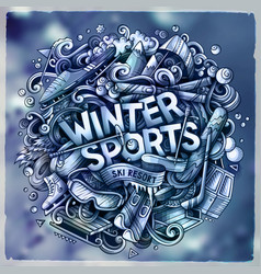 winter sports hand drawn cartoon doodles vector image