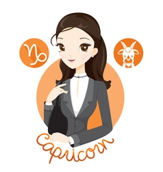 Woman With Capricorn Zodiac Sign vector