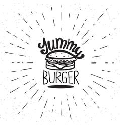 Yummy burger vintage label vector