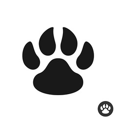 Animal paw black simple flat icon Foot step print vector image