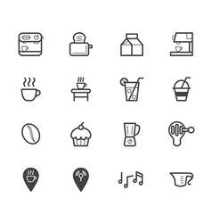 coffee cafe element black icon set on white bg vector image vector image