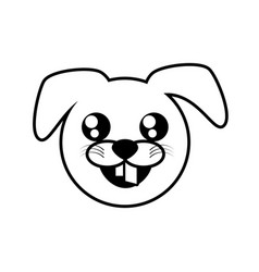 face dog animal outline vector image vector image