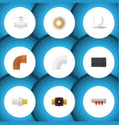 flat icon sanitary set of tube roll tap and vector image vector image
