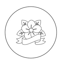 flower tattoo emblem icon outline single tattoo vector image
