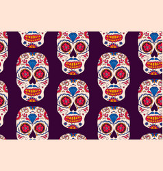 hand drawn mexican day of the dead seamless vector image