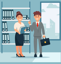 head of company and secretary woman business vector image
