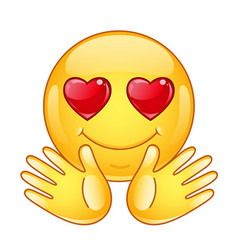 in love emoticon with open hands vector image