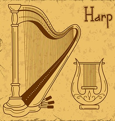 isolated harp and lyre vector image