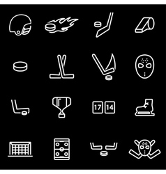line hockey icon set vector image vector image