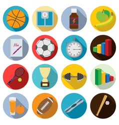 Set of flat fitness icons vector image