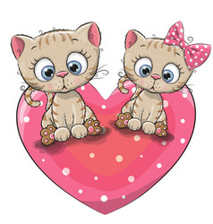 two cute cartoon kittens vector image vector image