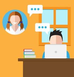 communicating online vector image