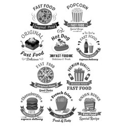 fast food restaurant menu icons set vector image vector image