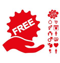 free present icon with valentine bonus vector image vector image