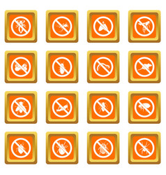 no insect sign icons set orange vector image vector image
