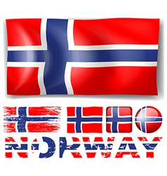 Norway flag in different designs vector image vector image