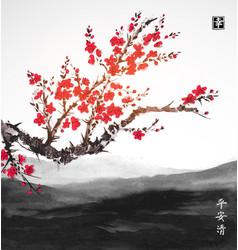 oriental sakura cherry tree in blossom and vector image