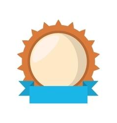 shield wheel gear blue ribbon vector image