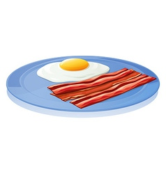 A plate with an egg and a bacon vector image vector image