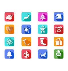 Christmas mobile long shadow icons set vector image vector image