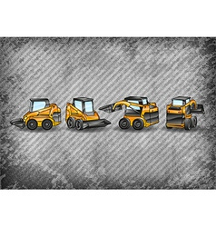 construction texture with minibagr vector image vector image