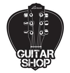 guitar neck icon with guitar shop text vector image